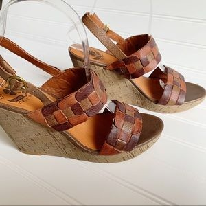 Lucky brand leather woven wedge cork sandals 7.5 M